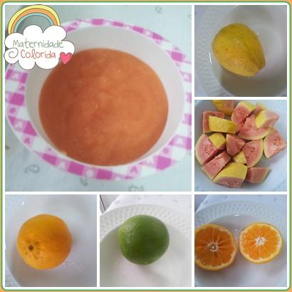 papa de fruta de goiaba, laranja e mexerica