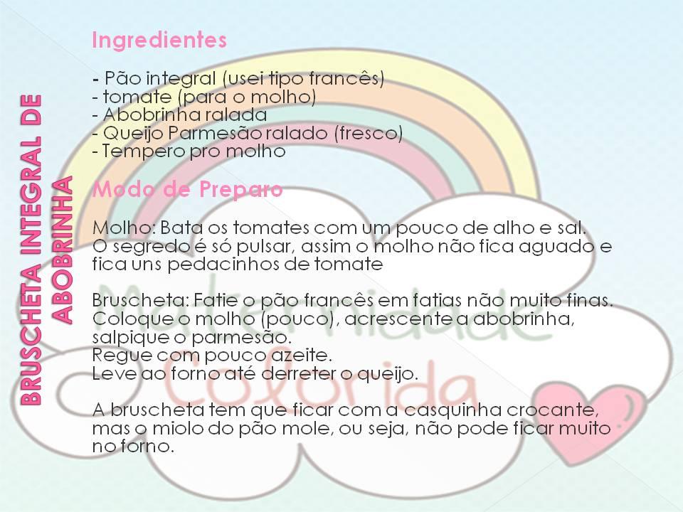 Bruschetta Integral de Abobrinha