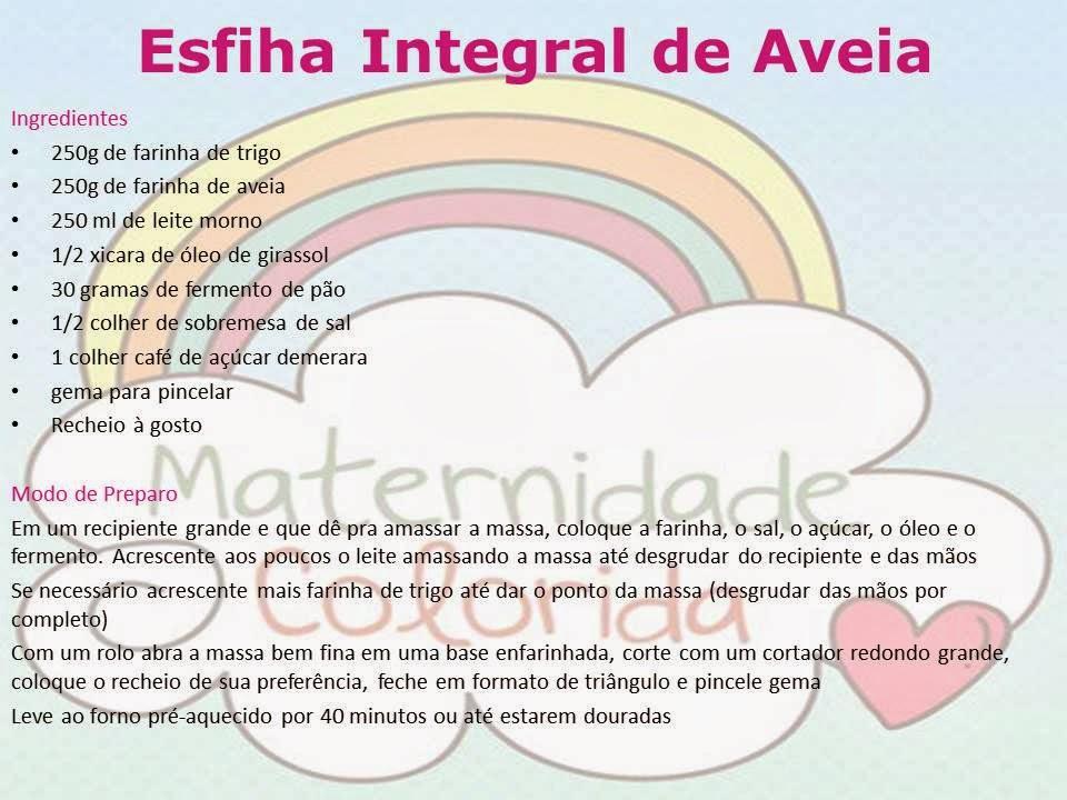 ESFIHA INTEGRAL DE AVEIA