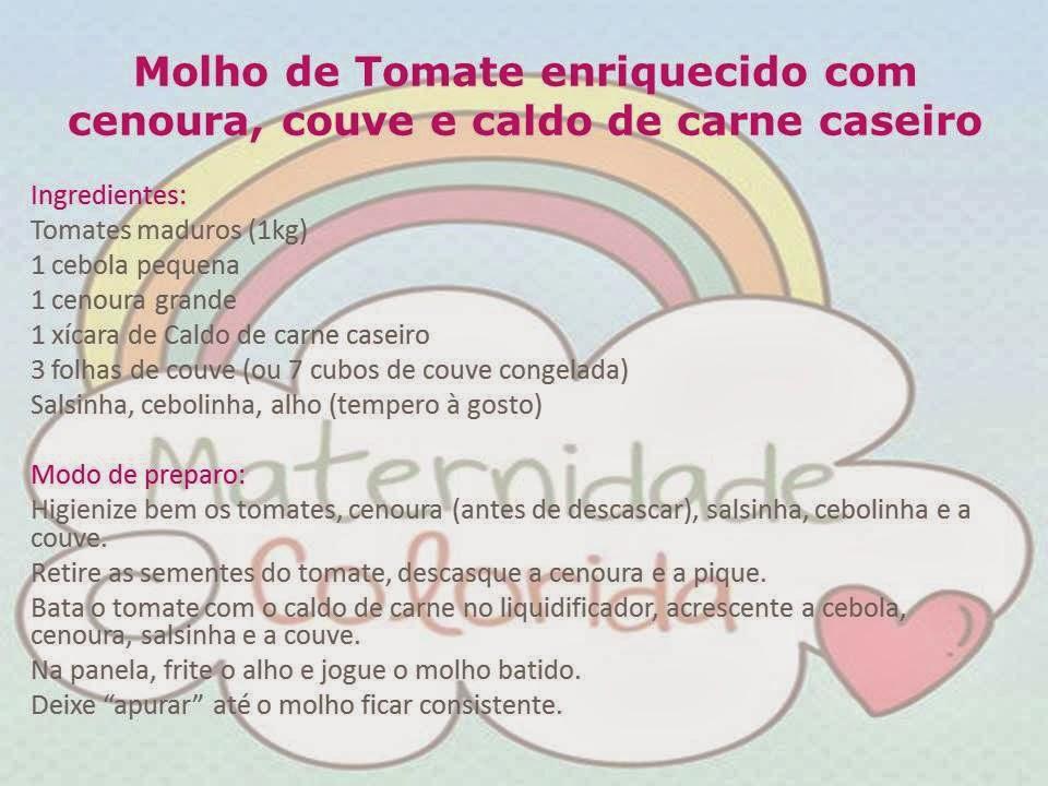 receita de molho de tomate caseiro enriquecido - maternidade colorida