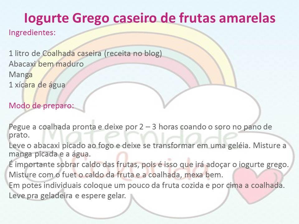 Receita de iogurte caseiro de frutas amarelas