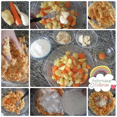 nhoque de cenoura, batata doce, batata e quinua