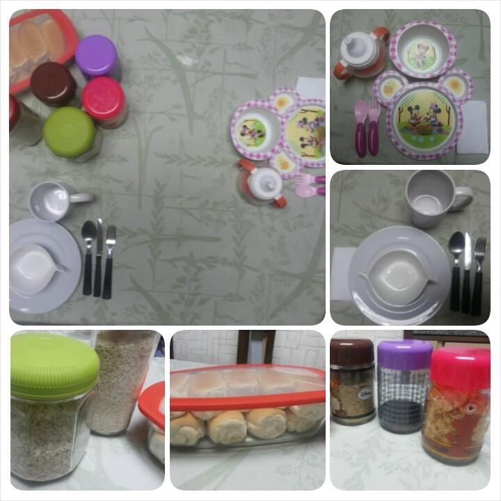 Deixo tudo organizado: itens não perecíveis, utensílios e mesa posta