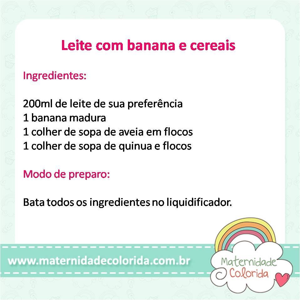 leite com banana e cereais