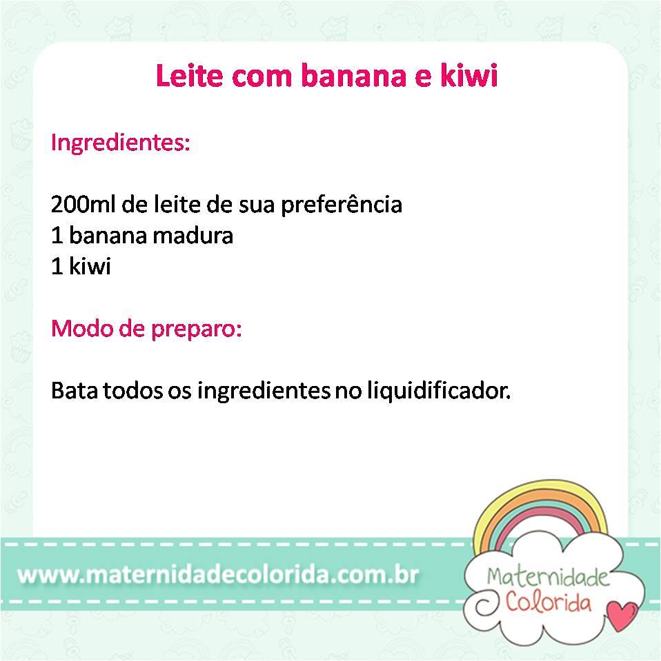 leite com banana e kiwi