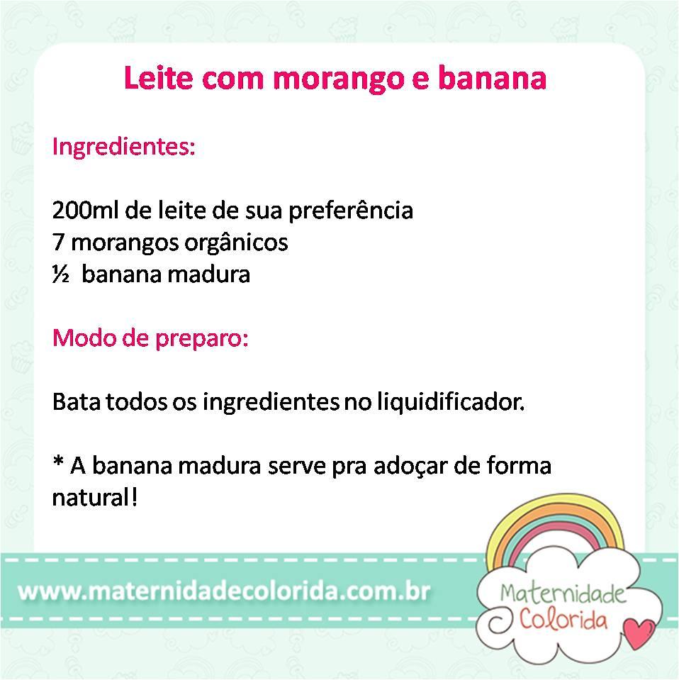 leite com morango e banana