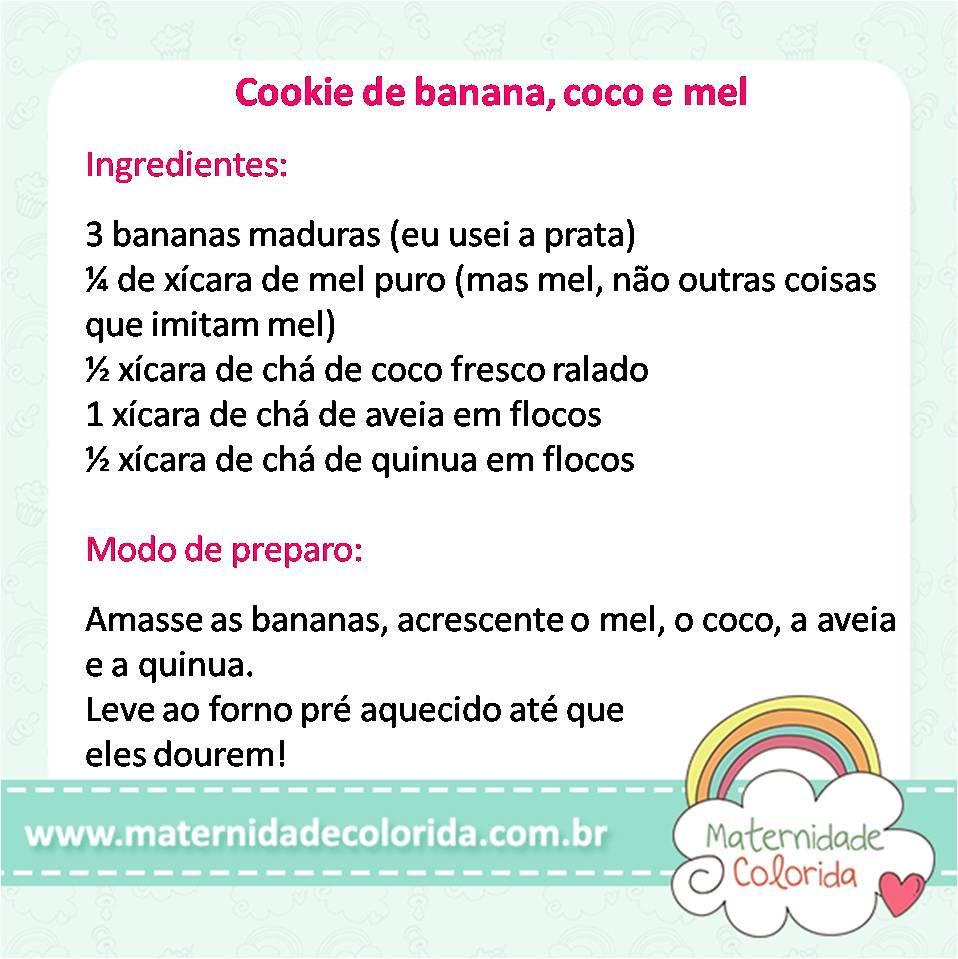 receita de cookie de banana coco e mel