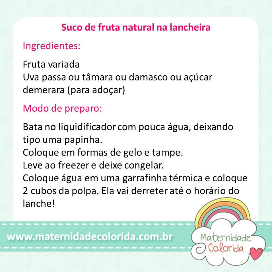 suco de fruta na lancheira