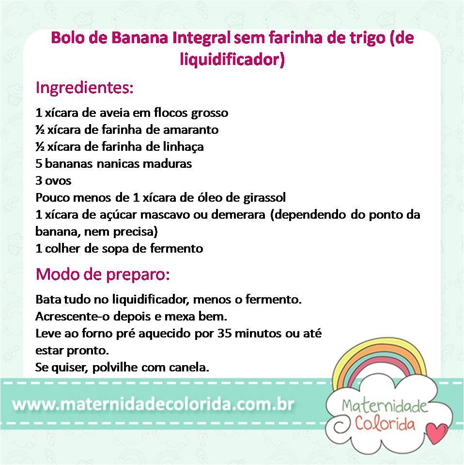 bolo de banana integral sem farinha de trigo de liquidificador