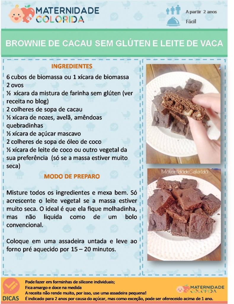 brownie de cacau sem gluten e leite de vaca